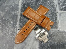 24mm Honey Brown Grain Leather Strap Brush Watch Band Buckle Set PANERAI BRW