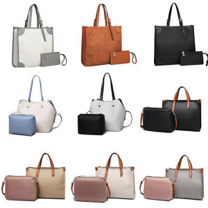Ladies 2 in 1 Set Shoulder Bag Faux Leather Handbag Women Designer Sales Bag