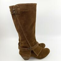 CROWN VINTAGE Womens Brown Suede Leather Heeled Knee High Boots Harness Sz 9.5 M