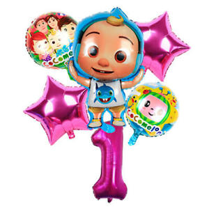 COCOMELON Pink Balloon Set for 1st Birthday Party FOIL HELIUM Decorations Kids 1