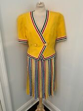 Vibrant Yellow 80s Vintage Anne Crimmins for Umi Collection Silk Skirt Suit 12