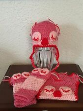CROCHETED INFANT 4 PIECE SLEEPY TIME OWL DIAPER SET/PHOTO PROP 0-3 MONTHS