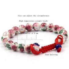 8mm Peony Flower Ceramics Porcelain Tibet Buddhist Prayer Beads Mala Bracelet