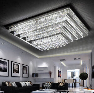 LED Remote Control Real K9 Clear Crystal Ceiling Lights Pendant Lamp Chandeliers