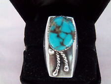 Ring Southwest Hand Craft Designed Genuine Turquoise Signed Sterling Size 10 1/4