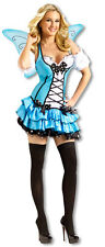 SEXY BLUEBELLE FAIRY HALLOWEEN COSTUME SZ M 10-12 FANTASY DRESS & WINGS  NEW
