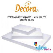 POLISTIROLO RETTANGOLARE 40 x 60 x H 10 cm Decora attrezzatura torta cake