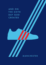 """Adidas Manchester A4 260gsm Poster """"And On The Sixth Day God Created Manchester"""""""