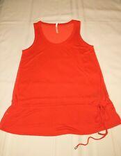 karen millen orange sheer polka dot tank top camisole sz 2 drawstring waist