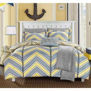 Twin XL Full Bed Bag Yellow Gray Grey Chevron Geometric 10pc Comforter Sheet Set