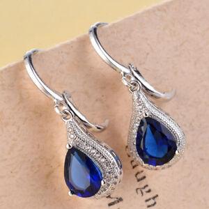 Blue Heart Topaz Women Oval 925 Sterling Silver Filled Drop Dangle Earrings Gift