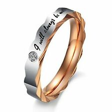 "MENDINO Men's Women's Stainless Steel Ring "" I Will Always Be with You "" Couples"