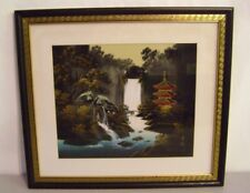 SILK HAND PAINTED WATERFALL WALL ART  20 1/2 X 23 ASIAN SIGNED