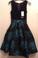 "Bnwt"" Coast "" Size 6 Black & Teal Francine Dress Evening Bridesmaid Wedding New"