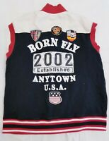 Born Fly Anytown USA Gray Vest Shirt Size Large Sleeveless Distressed Patches