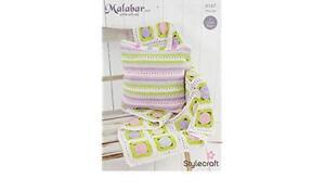 Stylecraft Malabar Cotton Silk Aran 9147 Crochet Pattern Throw Blanket Cushion