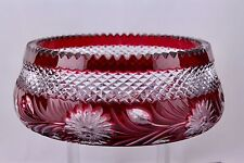 "LARGE IMPERLUX RUBY RED CUT TO CLEAR LEAD CRYSTAL 8-1/2"" BOWL – MINT"
