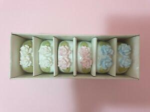 🌺 VINTAGE DOUBLE ROSE PORCELAIN NAPKIN/SERVIETTE RINGS - TAIWAN