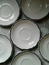 6 Syracuse China Coffee Saucers Black Platinum Scalloped Edge Restaurantware