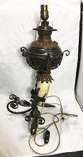 19TH C AESTHETIC MOVEMENT VICTORIAN SCROLL IRON & HORN CONVERTED OIL LAMP