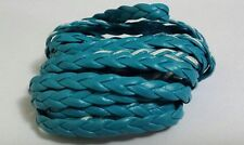 PU Faux leather flat braid blue 3mm x 1mtr