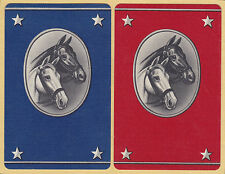 2 Single VINTAGE Swap/Playing Cards HORSES DOUBLE HORSE HEADS & STARS