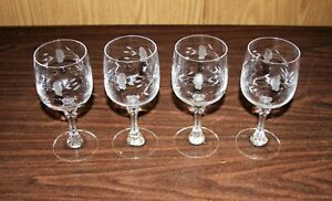 4 PRINCESS HOUSE HERITAGE BORDEAUX 24% LEAD CRYSTAL WINE / WATER GOBLET GLASSES