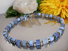 Würfelkette in Hellblau aus Glas + Acryl Würfel - Design Collier