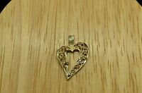 925 STERLING SILVER FILIGREE OPEN HEART PENDANT CHARM #20807