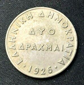 1926 Greece 2 Drachmai coin XF   World Coin   Copper nickel   #K1064