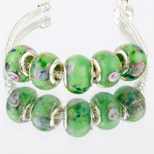 5pcs MURANO 925 silver plated glass bead LAMPWORK fit European Charm Bracelet
