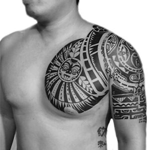 Men Tribal Temporary Tattoo Maori Shoulder & Chest Large Rock Polynesian Sticker