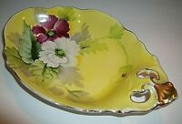 VTG Noritake Japan Art Deco Candy Nut Dish Red & White Roses Yellow Gold Trimmed