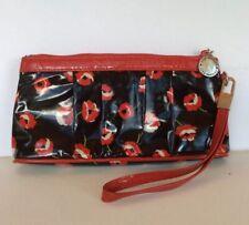 Vera Bradley Frill Collection Wristlet Poppy Fields Black Red Floral