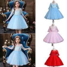 Fashion Kids Girls Lace Sleeve Tutu Dress Toddler Bridesmaid Wedding Prom Gown