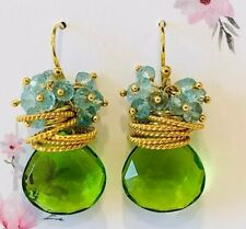 Green Apple Quartz Pierced Earrings With Blue Topaz Clusters New