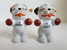 Vintage Japanese Bulldog Terrier salt pepper Misprint typo Japan kitsch dogs
