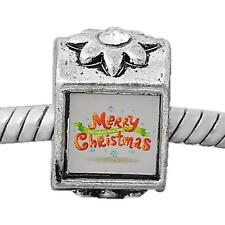 Merry Christmas Picture rhinestone Charm Bead For Silver Charm Bracelets m783