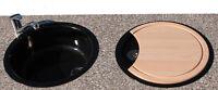 Rieber Rundspüle Brett Spülbecken Küchen Einbau Spüle Rundbecken Set schwarz Neu