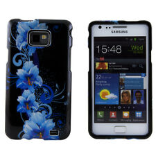 Samsung Galaxy S2 SII i9100 Blue Flower Black Hard Plastic Case Cover Skin Shell