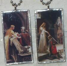 LEIGHTON KNIGHT AND LADY  ART GLASS PENDANT