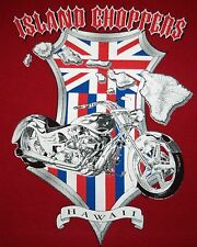 Men's 3XL Island Choppers Hawaii Red T Shirt British Flag & Motorcycle Graphics