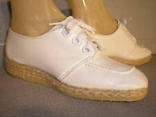 5.5 Nos Vtg 1970s Nurse Uniform Shoe Jute Wrap Wedge Platform Heel White Oxford