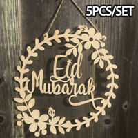 5PC Eid Mubarak Ramadan Wooden Ornament Wood DIY Craft Home Decor Hanging Pendan