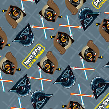 Patchwork Fabric Childrens Angry Birds Star Wars Fabric Grey Duel - Per 1/4 M...