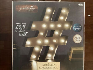"""LED Light Hashtag Marquee Sign # With 20 LEDS And Timer ~ Hanging Decor ~ 13.5"""""""