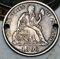 1890 Seated Liberty Dime 10c High Grade Details Good Date US Silver Coin CC5304