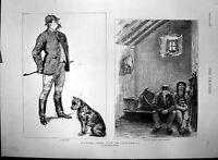 Antique Old Print Life Ireland Landlord Dog Cell Country Police Barracks 1888
