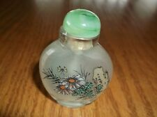 JAPANESE CHINESE SNUFF BOTTLE SIGNED FLOWERS GREEN LID