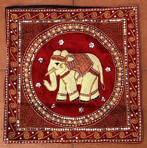 Embroidery Elephant Thailand Pillow Case Cushion Cover Sofa Home Bed Decor